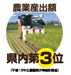 農業産出額県内第3位